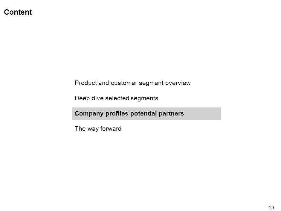 19 Content Product and customer segment overview Deep dive selected segments Company profiles potential partners The way forward