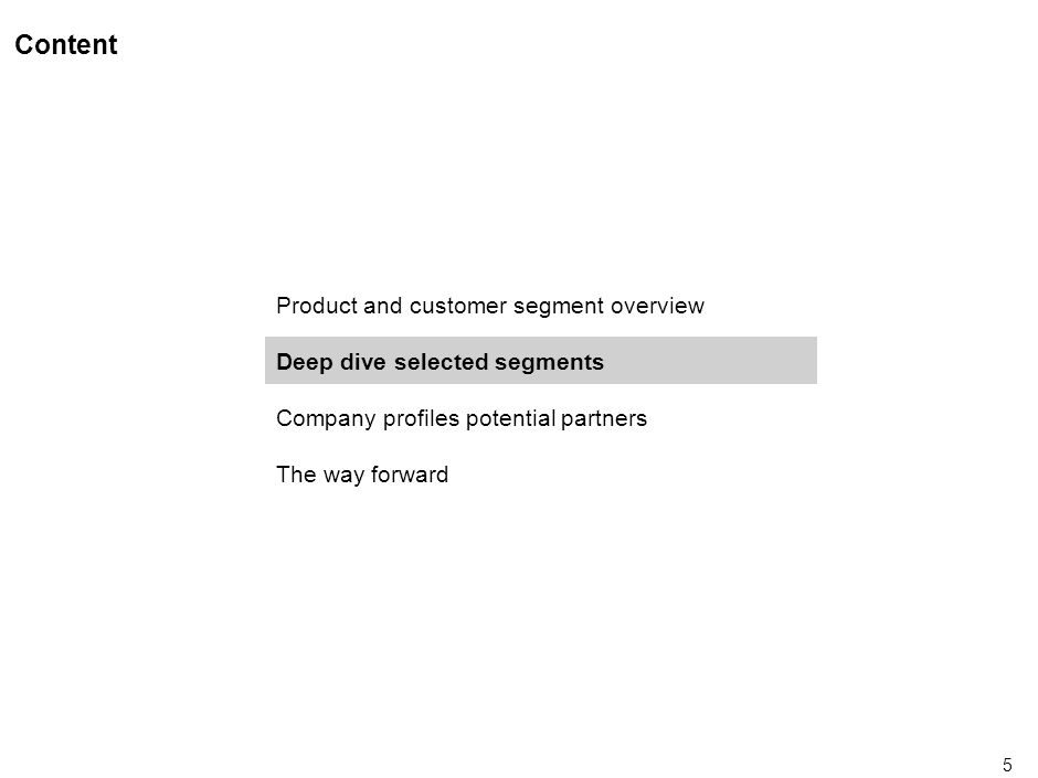 5 Content Product and customer segment overview Deep dive selected segments Company profiles potential partners The way forward