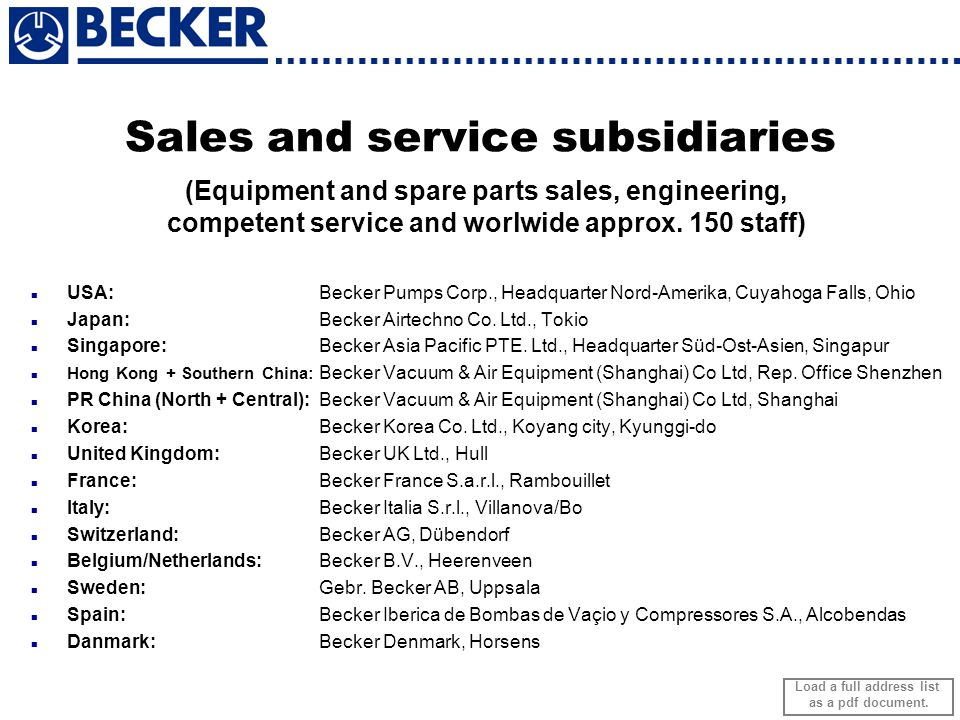 Sales and service subsidiaries (Equipment and spare parts sales, engineering, competent service and worlwide approx. 150 staff) USA: Becker Pumps Corp
