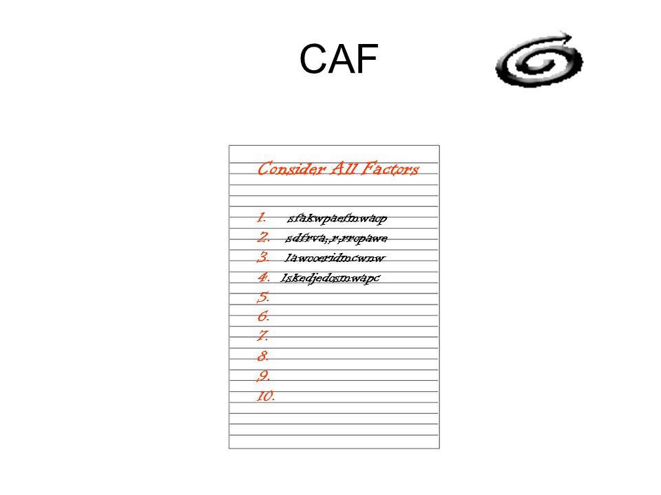 CAF Consider All Factors 1. sfakwpaefmwaop 2. sdfrva;,r;rropawe 3. lawooeridmcwnw 4. lskedjedosmwapc 5. 6. 7. 8. 9. 10.