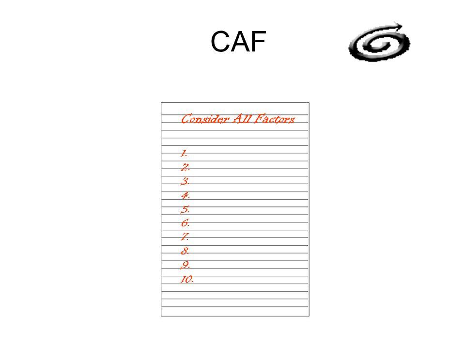 CAF Consider All Factors 1. 2. 3. 4. 5. 6. 7. 8. 9. 10.