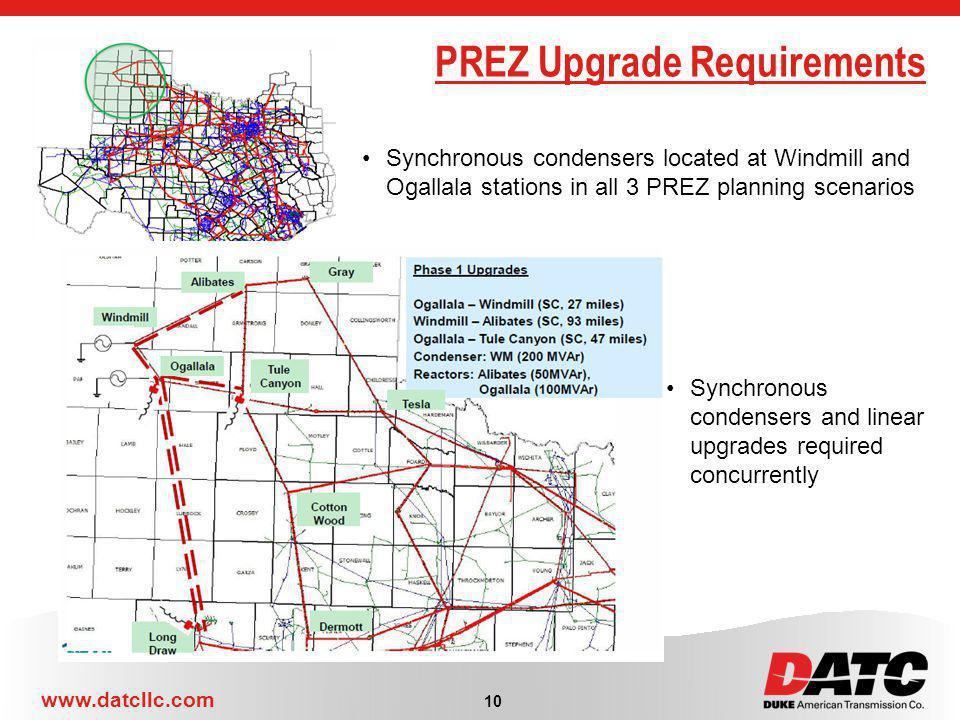 www.datcllc.com 10 PREZ Upgrade Requirements Synchronous condensers located at Windmill and Ogallala stations in all 3 PREZ planning scenarios Synchronous condensers and linear upgrades required concurrently