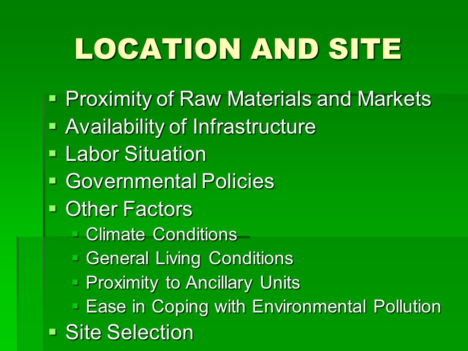 NEED FOR CONSIDERING ALTERNATIVES Nature of Project Nature of Project Production Process Production Process Product Quality Product Quality Scale of Operation and Time Phasing Scale of Operation and Time Phasing Location Location