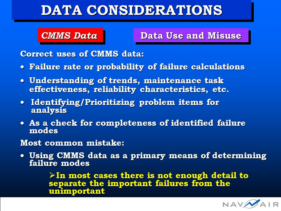 CMMS Data Data Use and Misuse Correct uses of CMMS data: Failure rate or probability of failure calculations Failure rate or probability of failure ca