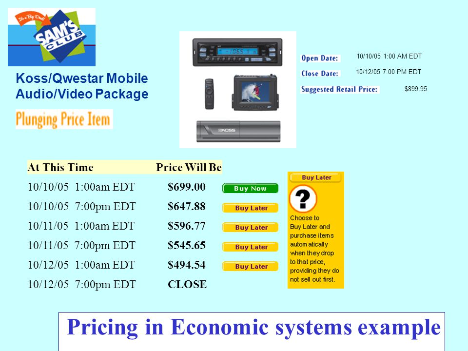 22 Koss/Qwestar Mobile Audio/Video Package At This Time Price Will Be 10/10/05 1:00am EDT$699.00 10/10/05 7:00pm EDT$647.88 10/11/05 1:00am EDT$596.77