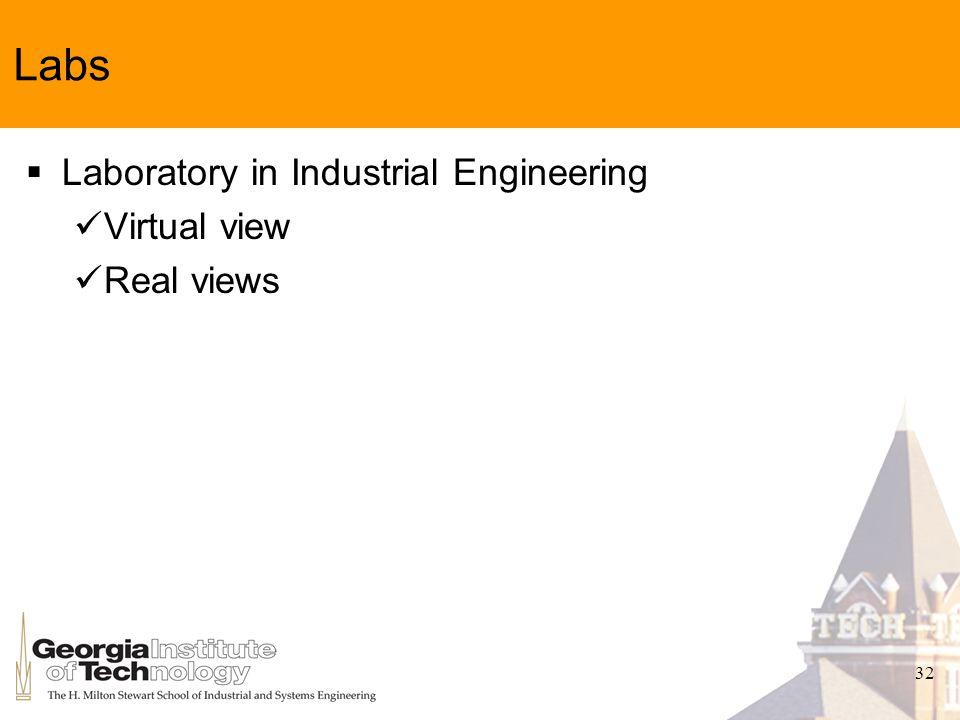 32 Labs Laboratory in Industrial Engineering Virtual view Real views