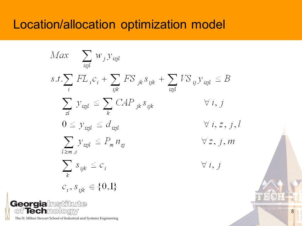 8 Location/allocation optimization model