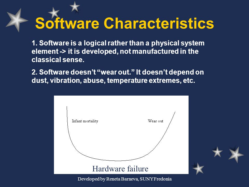 Developed by Reneta Barneva, SUNY Fredonia Software Characteristics 1. Software is a logical rather than a physical system element -> it is developed,