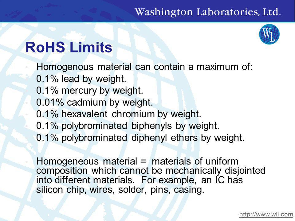RoHS Limits Homogenous material can contain a maximum of: 0.1% lead by weight. 0.1% mercury by weight. 0.01% cadmium by weight. 0.1% hexavalent chromi