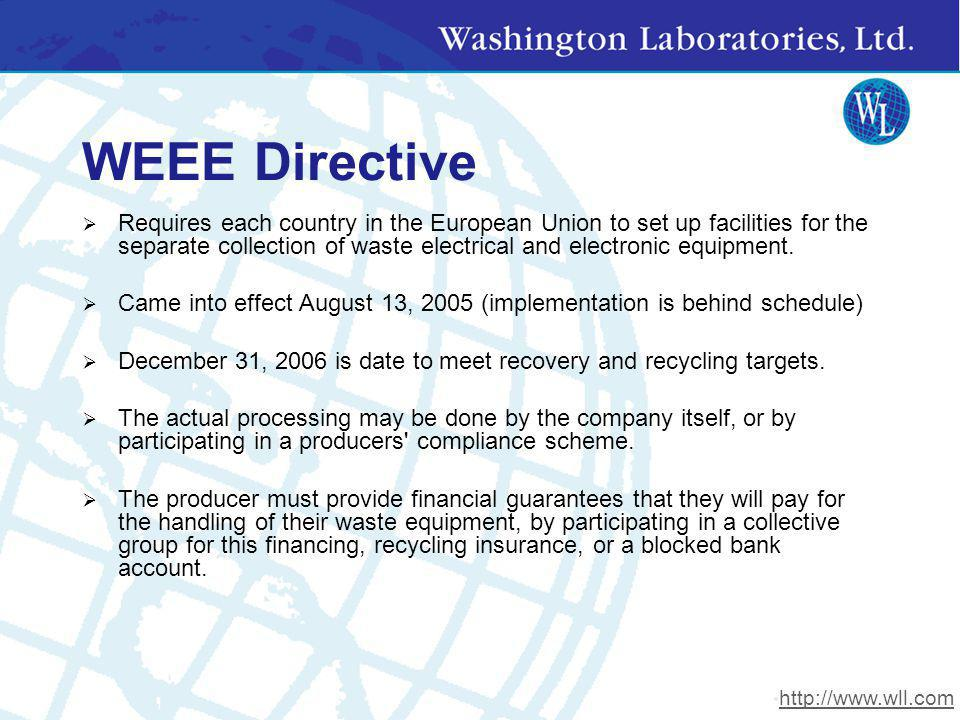WEEE Directive Requires each country in the European Union to set up facilities for the separate collection of waste electrical and electronic equipme