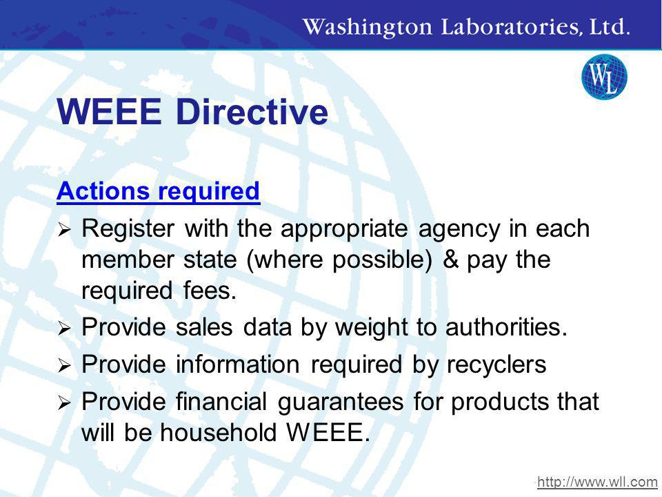 WEEE Directive Actions required Register with the appropriate agency in each member state (where possible) & pay the required fees. Provide sales data