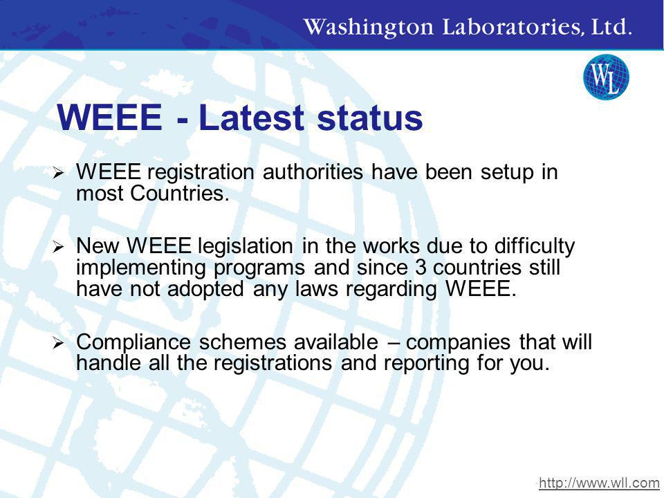 WEEE - Latest status WEEE registration authorities have been setup in most Countries. New WEEE legislation in the works due to difficulty implementing
