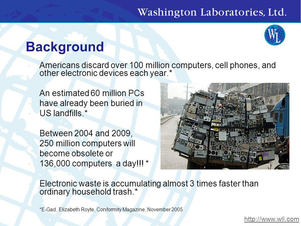 Background Americans discard over 100 million computers, cell phones, and other electronic devices each year.* An estimated 60 million PCs have alread