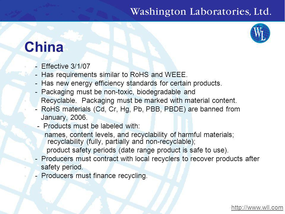China - Effective 3/1/07 - Has requirements similar to RoHS and WEEE. - Has new energy efficiency standards for certain products. - Packaging must be