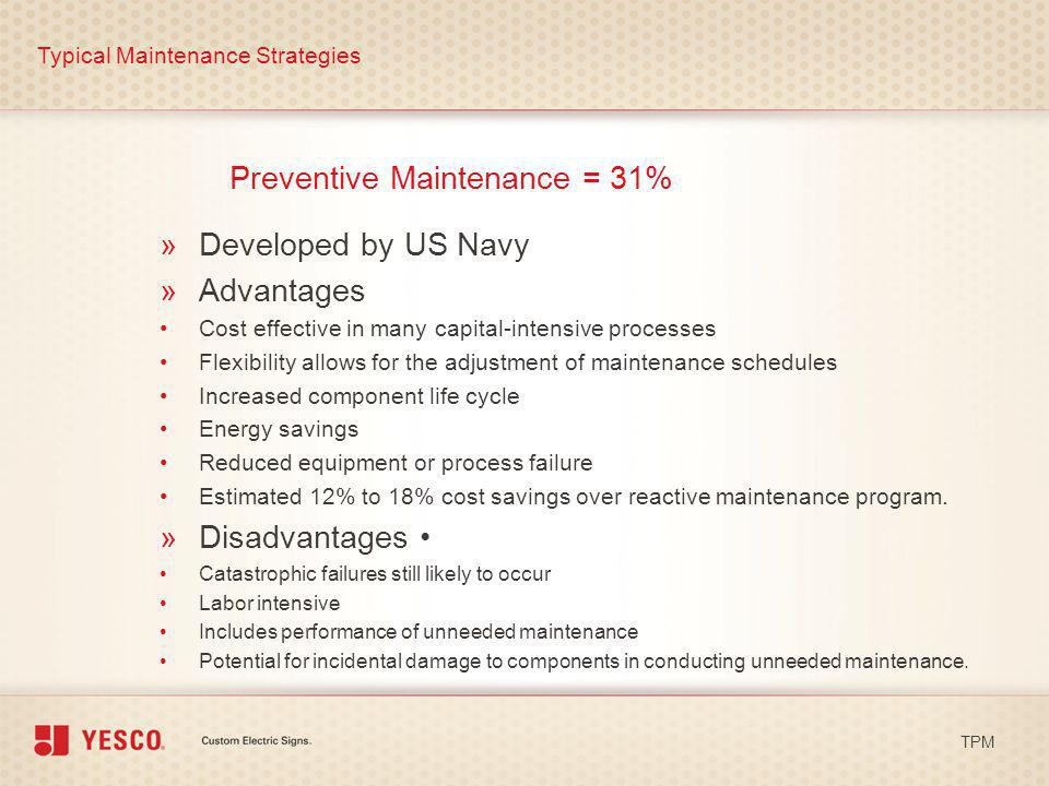 Preventive Maintenance = 31% Typical Maintenance Strategies TPM »Developed by US Navy »Advantages Cost effective in many capital-intensive processes F