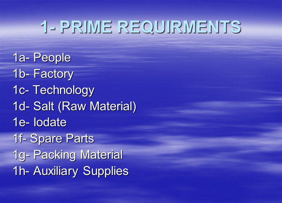 1- PRIME REQUIRMENTS 1a- People 1b- Factory 1c- Technology 1d- Salt (Raw Material) 1e- Iodate 1f- Spare Parts 1g- Packing Material 1h- Auxiliary Supplies