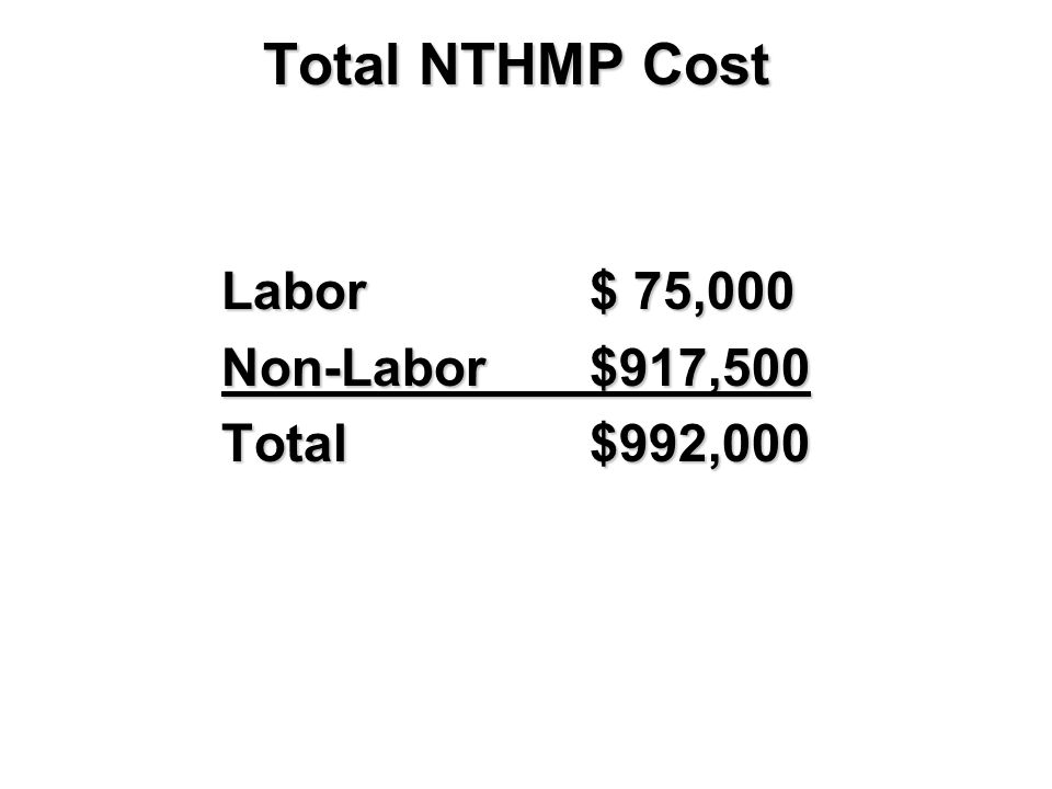 Total NTHMP Cost Labor$ 75,000 Non-Labor$917,500 Total$992,000