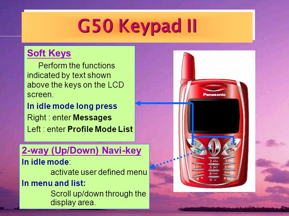 G50 Keypad II Soft Keys Perform the functions indicated by text shown above the keys on the LCD screen.