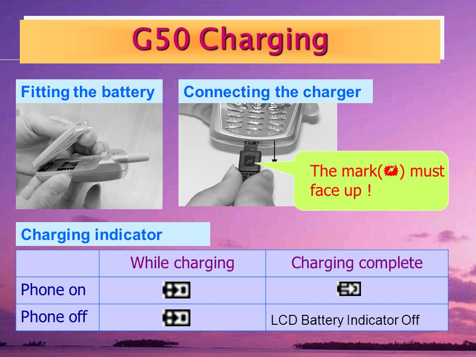 G50 Charging Connecting the chargerFitting the battery The mark( ) must face up .