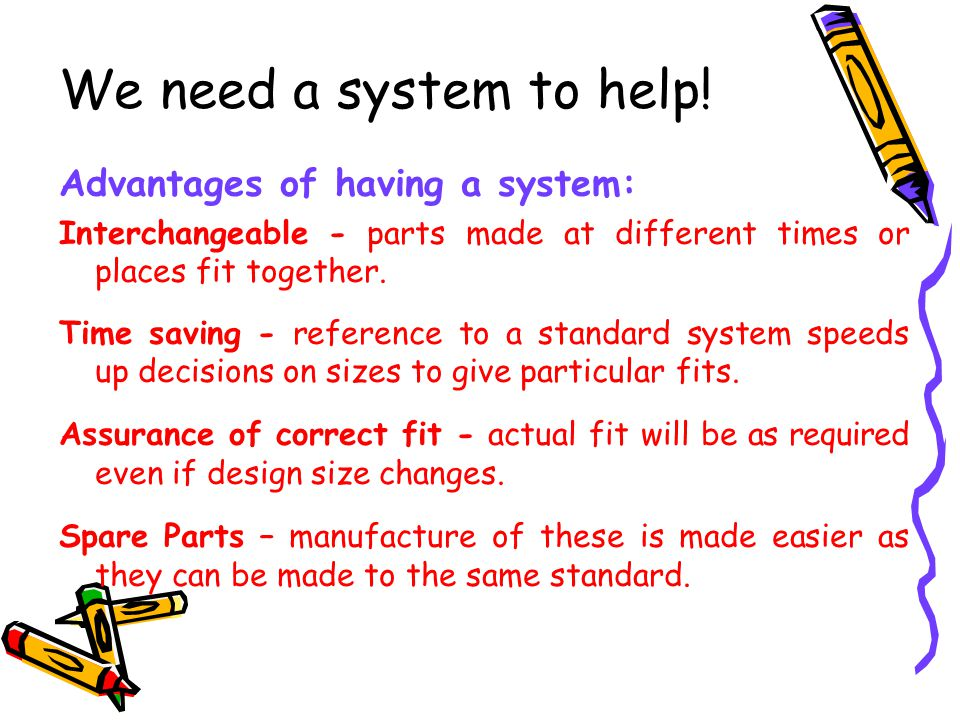 We need a system to help! Advantages of having a system: Interchangeable - parts made at different times or places fit together. Time saving - referen