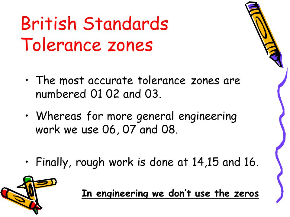 The most accurate tolerance zones are numbered 01 02 and 03. Whereas for more general engineering work we use 06, 07 and 08. Finally, rough work is do