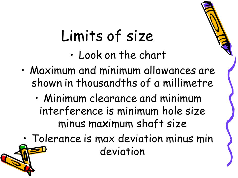 Limits of size Look on the chart Maximum and minimum allowances are shown in thousandths of a millimetre Minimum clearance and minimum interference is