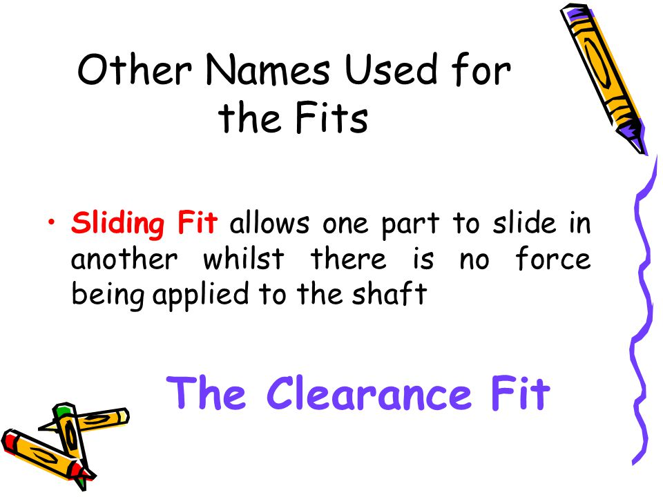 Other Names Used for the Fits Sliding Fit allows one part to slide in another whilst there is no force being applied to the shaft The Clearance Fit