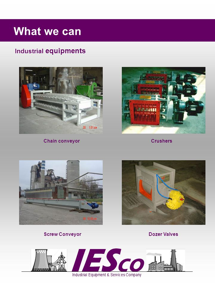 What we can Industrial equipments Elevators Jet Pulse filters Vibration Screens Rotary Feeders