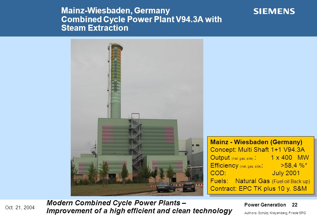 Oct. 21, 2004 Power Generation 22 Authors: Schütz, Kreyenberg, Friede SPG Modern Combined Cycle Power Plants – Improvement of a high efficient and cle