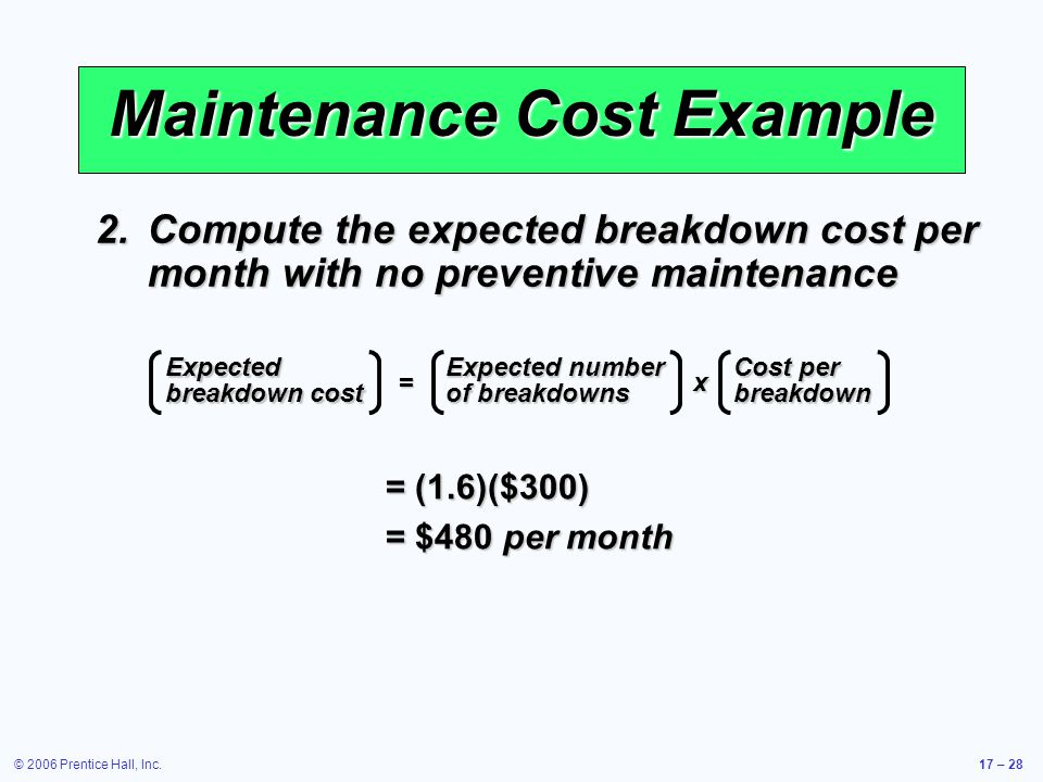 © 2006 Prentice Hall, Inc.17 – 28 Maintenance Cost Example 2.Compute the expected breakdown cost per month with no preventive maintenance Expected bre