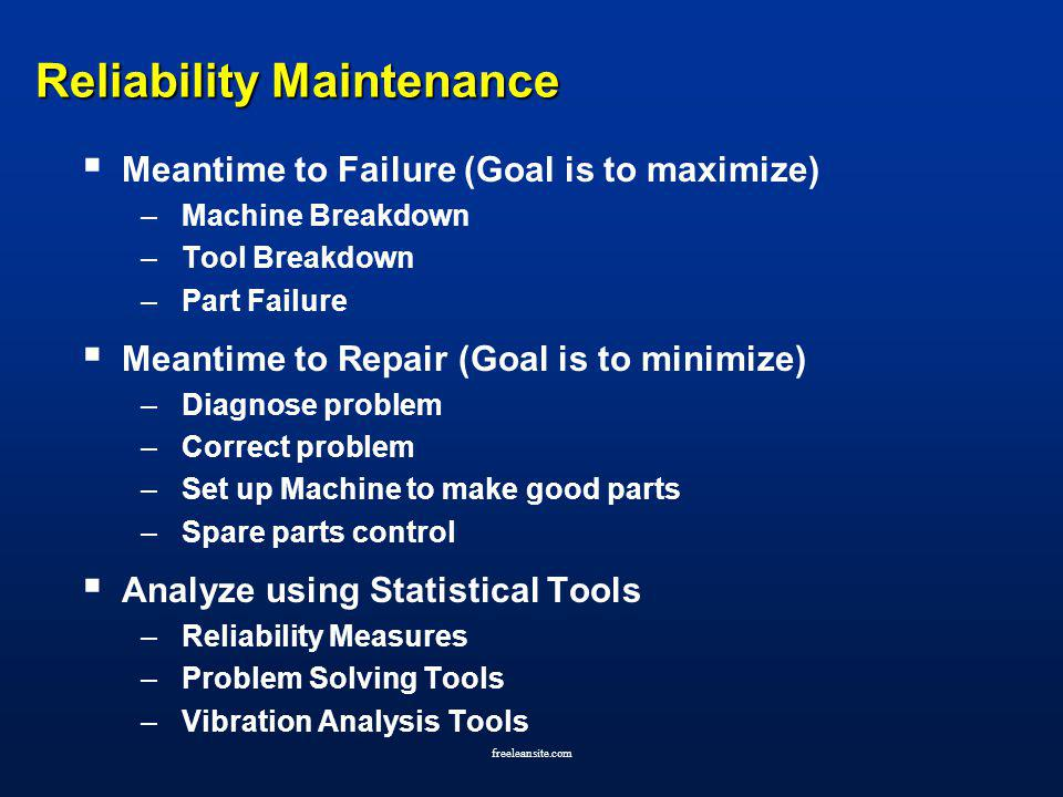 freeleansite.com Reliability Maintenance Meantime to Failure (Goal is to maximize) –Machine Breakdown –Tool Breakdown –Part Failure Meantime to Repair