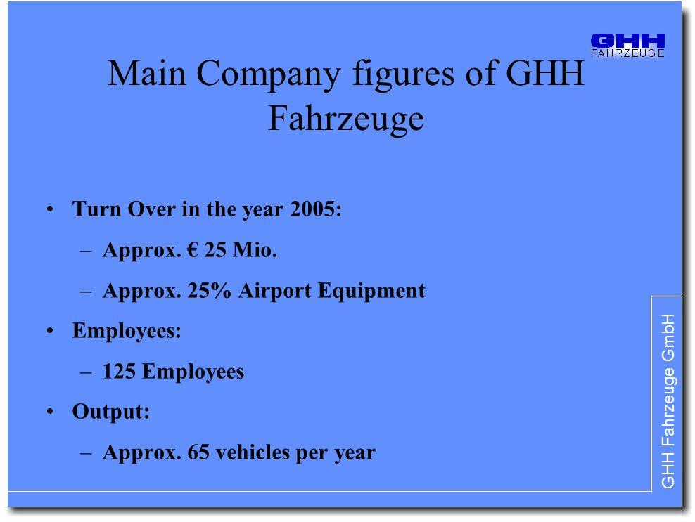 GHH Fahrzeuge GmbH Main Company figures of GHH Fahrzeuge Turn Over in the year 2005: –Approx. 25 Mio. –Approx. 25% Airport Equipment Employees: –125 E