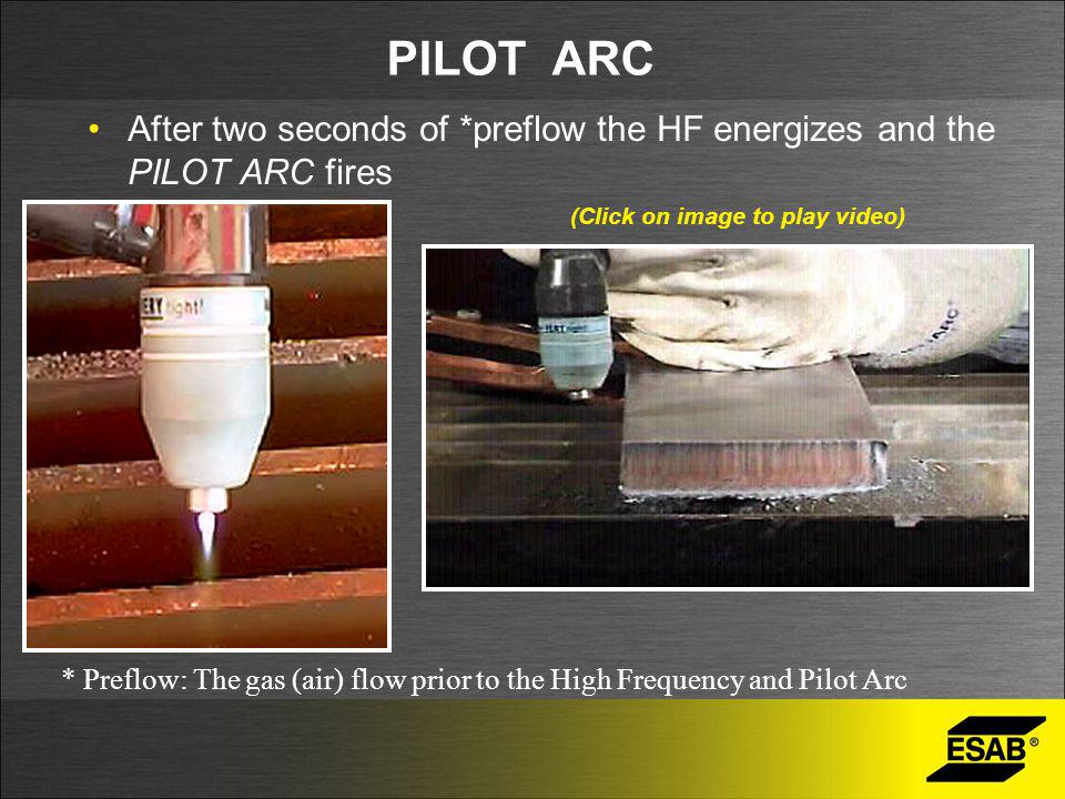 PILOT ARC After two seconds of *preflow the HF energizes and the PILOT ARC fires * Preflow: The gas (air) flow prior to the High Frequency and Pilot A