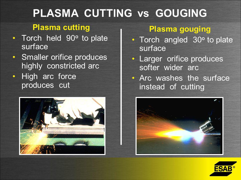 PLASMA CUTTING vs GOUGING Plasma cutting Torch held 90 o to plate surface Smaller orifice produces highly constricted arc High arc force produces cut Plasma gouging Torch angled 30 o to plate surface Larger orifice produces softer wider arc Arc washes the surface instead of cutting