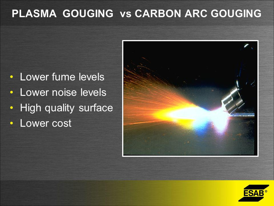 PLASMA GOUGING vs CARBON ARC GOUGING Lower fume levels Lower noise levels High quality surface Lower cost