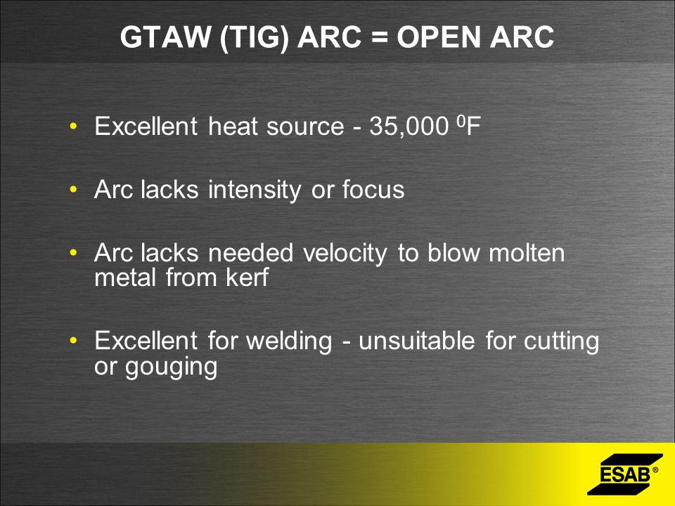 GTAW (TIG) ARC = OPEN ARC Excellent heat source - 35,000 0 F Arc lacks intensity or focus Arc lacks needed velocity to blow molten metal from kerf Excellent for welding - unsuitable for cutting or gouging