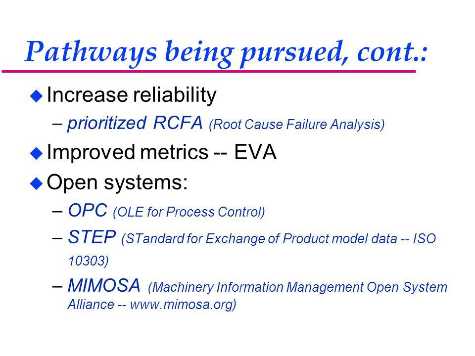 Pathways being pursued, cont.: u Increase reliability –prioritized RCFA (Root Cause Failure Analysis) u Improved metrics -- EVA u Open systems: –OPC (OLE for Process Control) –STEP (STandard for Exchange of Product model data -- ISO 10303) –MIMOSA (Machinery Information Management Open System Alliance -- www.mimosa.org)
