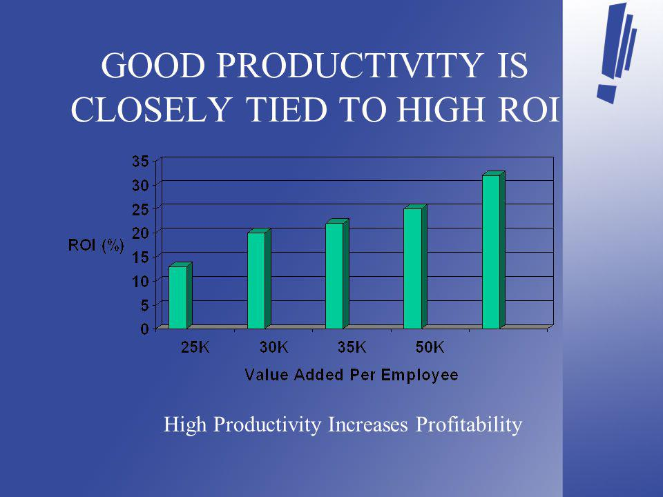 GOOD PRODUCTIVITY IS CLOSELY TIED TO HIGH ROI High Productivity Increases Profitability