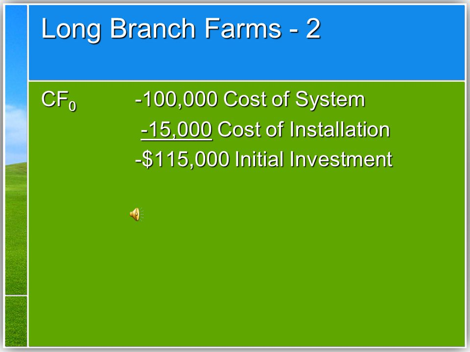 Example One – A New Investment After the long drought of 1992, the manager of Long Branch Farm is considering the installation of an irrigation system