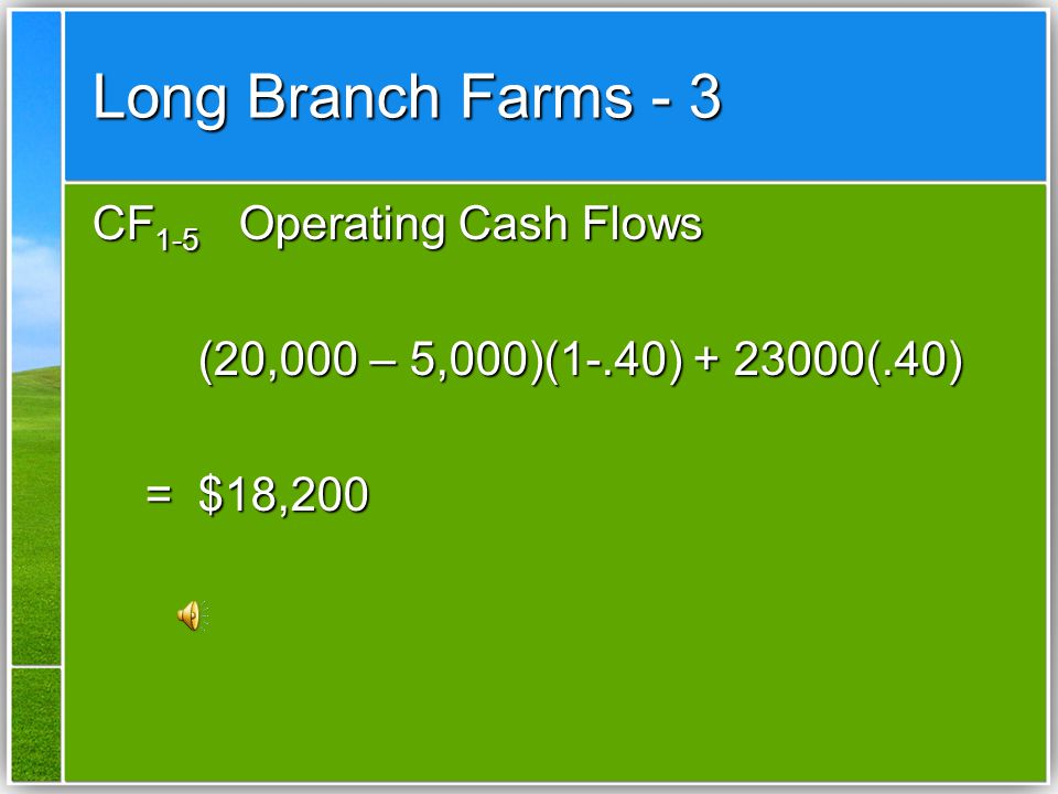 Long Branch Farms - 2 CF 0 -100,000 Cost of System -15,000 Cost of Installation -15,000 Cost of Installation -$115,000 Initial Investment