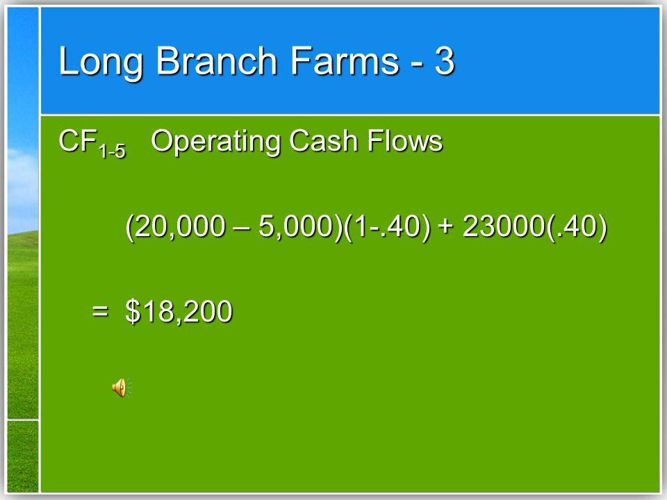 CF 1-5 Operating Cash Flows (20,000 – 5,000)(1-.40) + 23000(.40) =$18,200 =$18,200 Long Branch Farms - 3