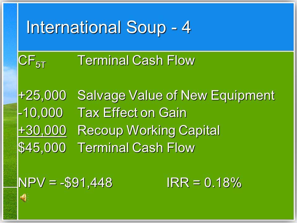 International Soup - 3 CF 1-5 Operating Cash Flows (40,000)(1-.40) + (40,500)(.40) = 24,000 + 16,200 = $40,200