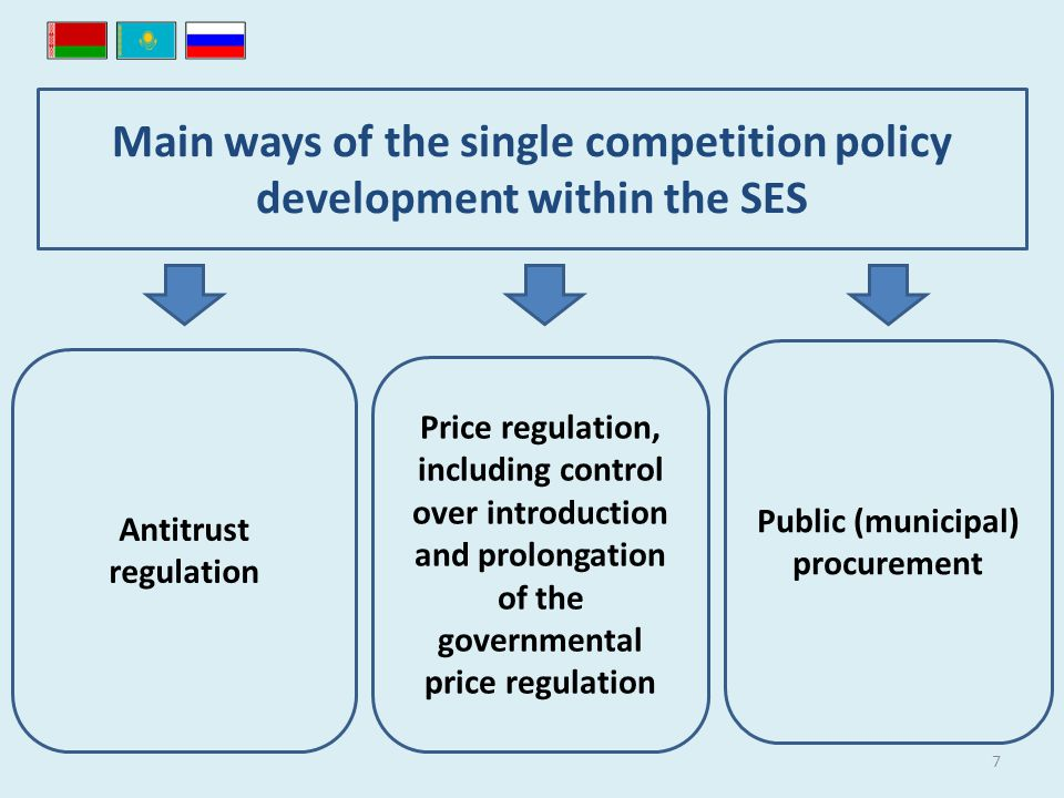 7 Main ways of the single competition policy development within the SES Antitrust regulation Price regulation, including control over introduction and prolongation of the governmental price regulation Public (municipal) procurement
