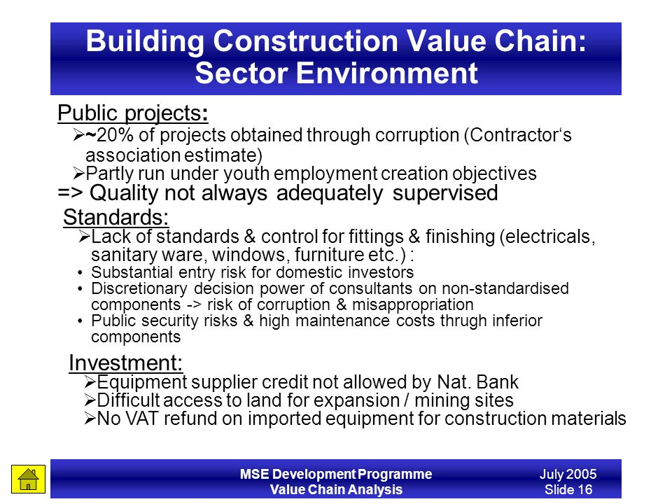 MSE Development Programme Value Chain Analysis July 2005 Slide 16 Building Construction Value Chain: Sector Environment Public projects: ~20% of proje