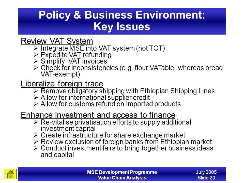 MSE Development Programme Value Chain Analysis July 2005 Slide 20 Policy & Business Environment: Key Issues Review VAT System Integrate MSE into VAT s