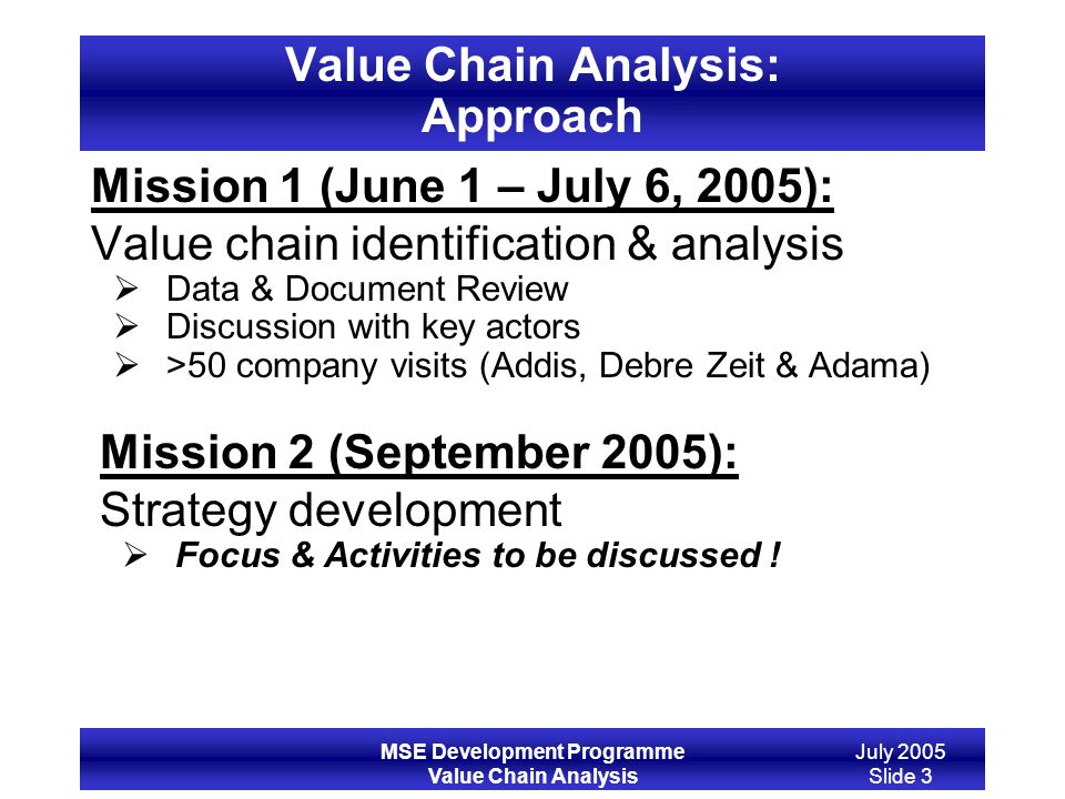 MSE Development Programme Value Chain Analysis July 2005 Slide 3 Value Chain Analysis: Approach Mission 1 (June 1 – July 6, 2005): Value chain identif