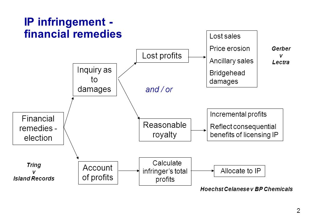2 IP infringement - financial remedies Financial remedies - election Inquiry as to damages Lost profits Reasonable royalty Lost sales Price erosion An