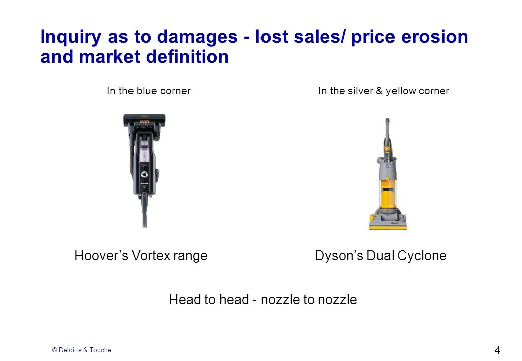 4 Inquiry as to damages - lost sales/ price erosion and market definition In the blue cornerIn the silver & yellow corner Hoovers Vortex rangeDysons D