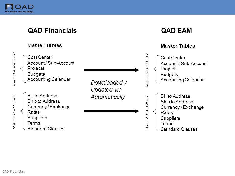 QAD Proprietary Master Tables Cost Center Account / Sub-Account Projects Budgets Accounting Calendar Bill to Address Ship to Address Currency / Exchan