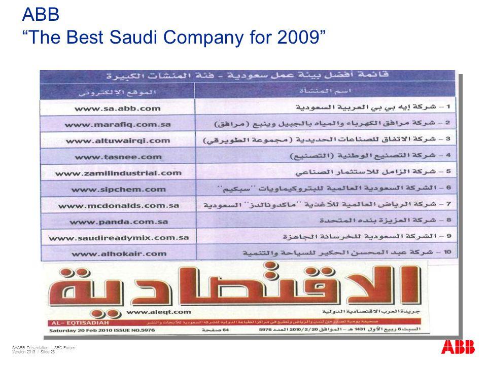 ABB The Best Saudi Company for 2009 SAABB Presentation – SEC Forum Version 2013 / Slide 28